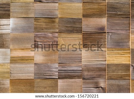 vintage pattern material of cedar wooden decorative background on wall, pine wood Roofing material.