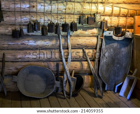 Vintage peasant items. Russia, Leningrad Region, Podporozhsky. In Mandrogi, a crafts village on the Svir river. - stock photo