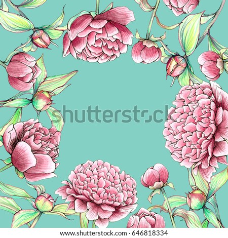 Vintage Peonies And Buds Outline Watercolor Frame Beautiful Rectangle Spring Flower Border On Mint