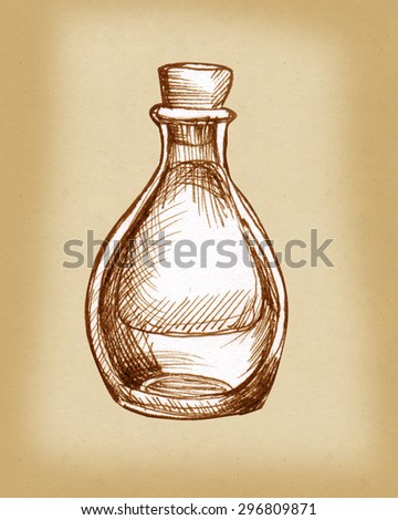 Vintage pharmacy bottle stoppered - stock photo