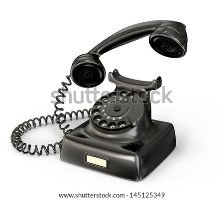 vintage phone isolated on a white background - stock photo