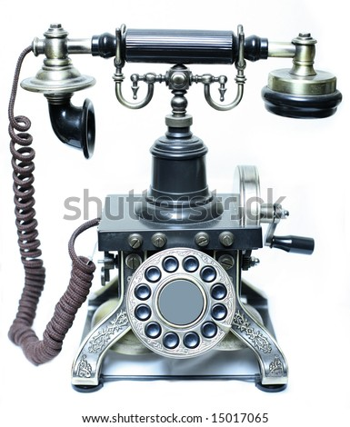 Vintage phone on a white background - stock photo
