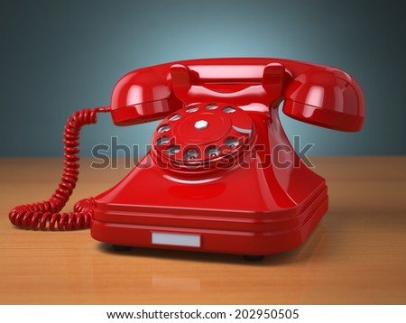 Vintage phone on green background. Hotline support concept. 3d - stock photo