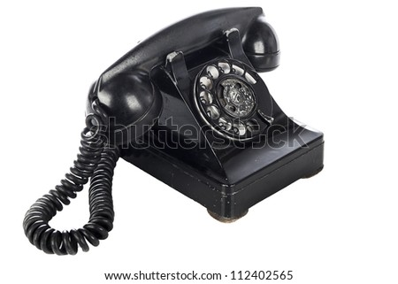 Vintage phone on white - stock photo