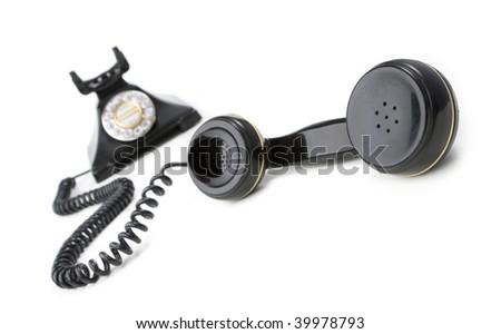 vintage phone on white background - stock photo