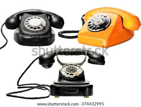 Vintage phones set - stock photo