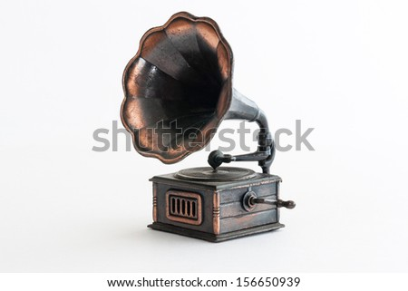 Vintage phonograph pencil sharpener close up - stock photo