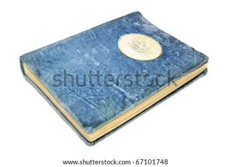 Vintage photo album cover blue plush isolated on white - stock photo