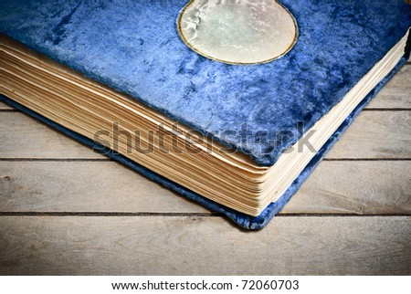 Vintage Photo album cover blue plush with leather label - stock photo