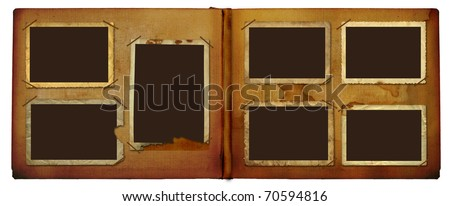 Vintage photo album for photos on white isolated background - stock photo