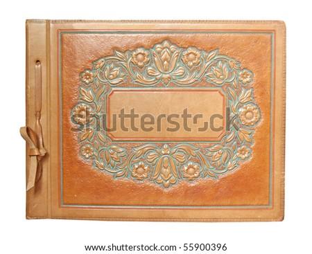 vintage photo album isolated - stock photo