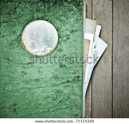 Vintage Photo album plush cover green with leather label - stock photo