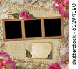 Vintage Photo Album. The frame is decorated with a bouquet of flowers hollyhocks - stock photo