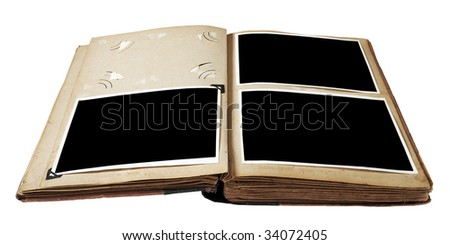 Vintage photo album with blank photos isolated on white background with clipping path - stock photo