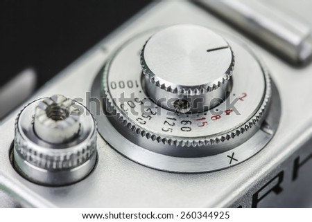 Vintage photo camera details - stock photo