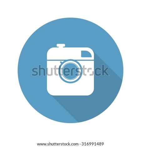 Vintage photo camera icon - stock photo