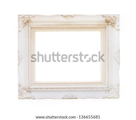 Vintage photo frame isolated on white background - stock photo
