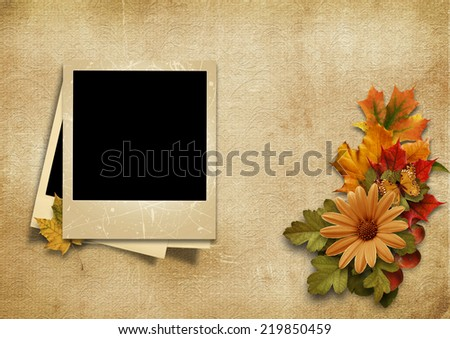 Vintage photo-frame with fine autumn decorations with place for image or copy - stock photo