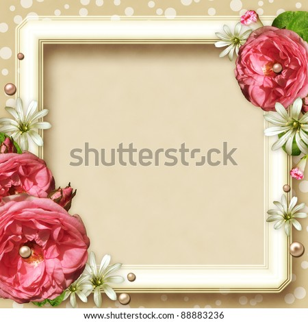 Vintage Photo Frame with pink roses and pearls - stock photo