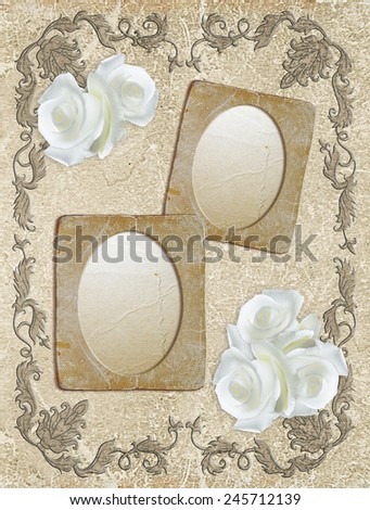 Vintage photo frame with white roses and luxurious ornament - stock photo