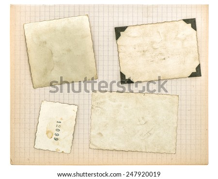 vintage photo frames and math book page isolated on white background. used paper texture - stock photo