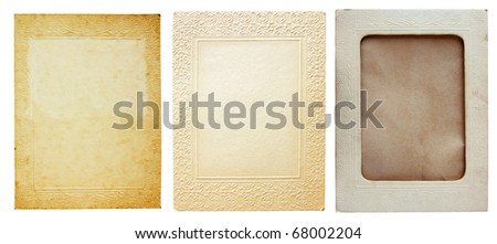 vintage photo frames isolated over white - stock photo
