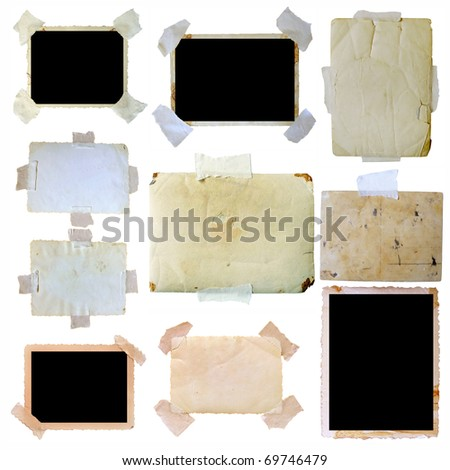 Vintage photo frames set, big collection - stock photo