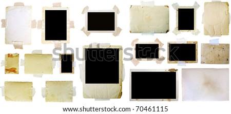 Vintage photo frames set, big collection - stock photo