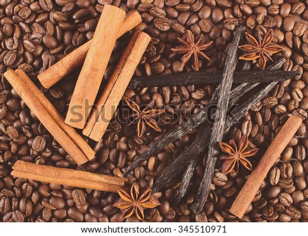Vintage photo, Fresh fragrant vanilla pods, cinnamon sticks and star anise on coffee grains, seasoning ingredients for cooking or baking - stock photo
