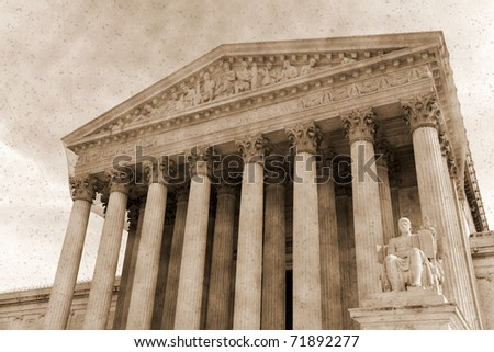 Vintage photo imitation of supreme court  Washington DC - stock photo