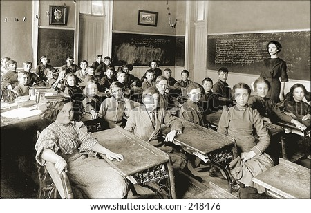 Vintage Photo of a Classroom And Teacher - stock photo