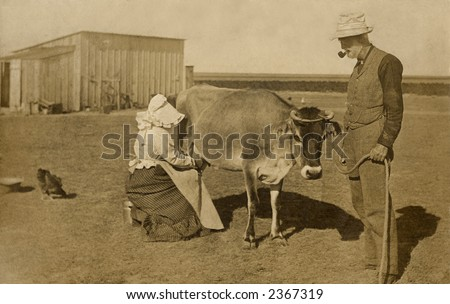 Vintage photo of a farm couple in the barnyard milking a cow - stock photo