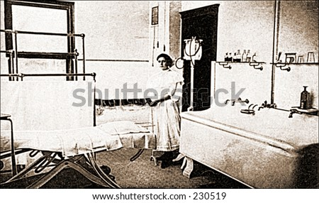 Vintage photo of a hospital ward