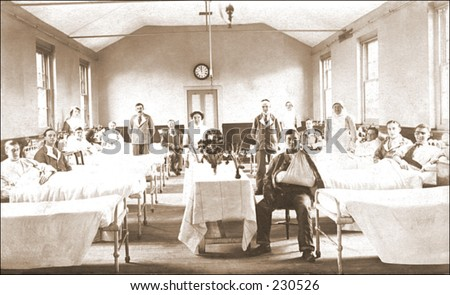 Vintage photo of a hospital ward - stock photo