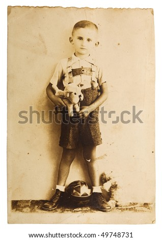 Vintage photo of a little boy from around 1940 - stock photo