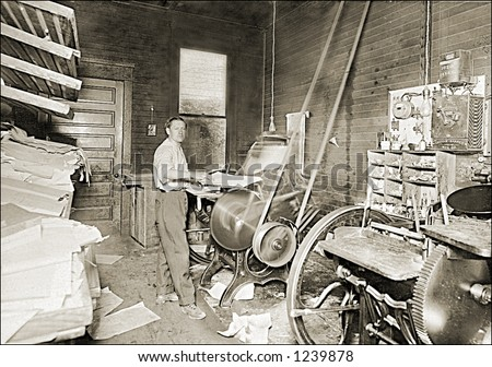 Vintage photo of a print shop - stock photo