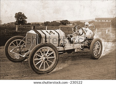 Vintage photo of a race car on the track - stock photo