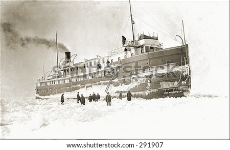 Vintage photo of a Steam Ship Trapped In Ice - stock photo