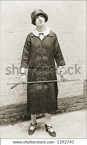 Vintage photo of a Teacher In Dress - stock photo