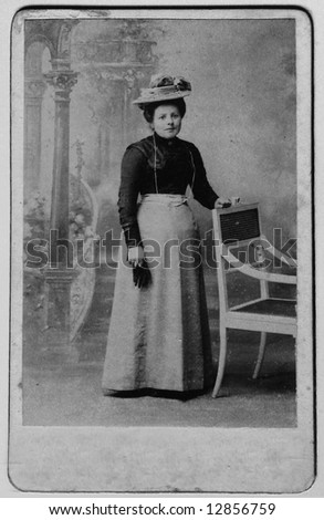 Vintage Photo of a Woman Circa 1906: Image has grain as original print is very old