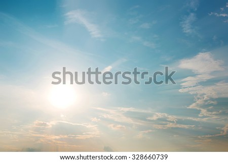 Vintage photo of abstract nature background with sky in sunset - stock photo