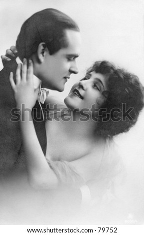 Vintage photo of affectionate couple about To kiss - stock photo