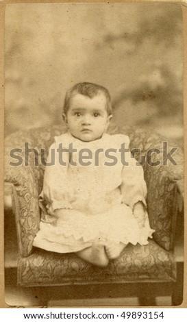 Vintage photo of baby (1891) - stock photo