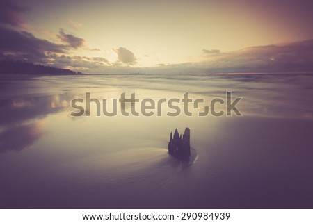 Vintage photo of Baltic sea shore seascape. Seascape photographed near Gdynia in Poland. - stock photo