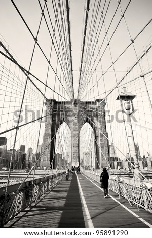 Vintage photo of Brooklyn Bridge in New York, USA - stock photo