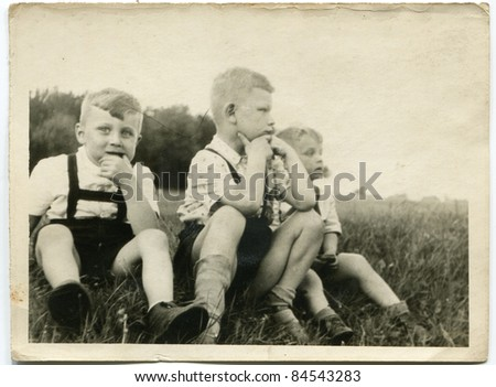 Vintage photo of brothers (fifties) - stock photo