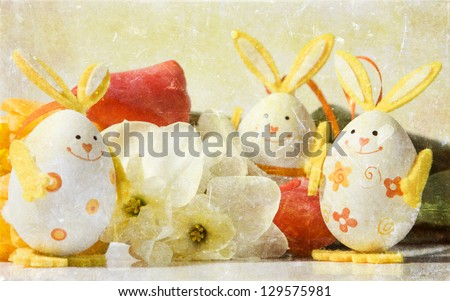 Vintage photo of bunny shaped easter eggs - stock photo