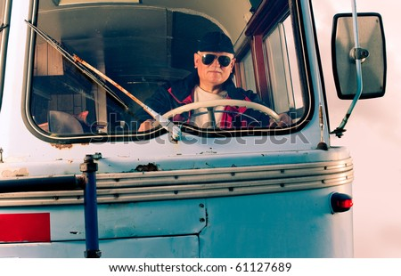 Vintage photo of bus driver