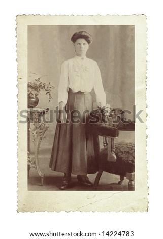 Vintage photo of Edwardian beauty, with remarkable eyes. - stock photo