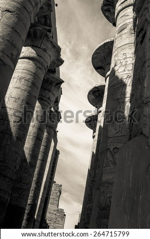 Vintage photo of Egypt, monochromatic colors in retro style. Egyptian columns in Karnak Temple, ancient ruins in Thebes. Travel in Luxor - architecture and landmarks of ancient Egypt. - stock photo